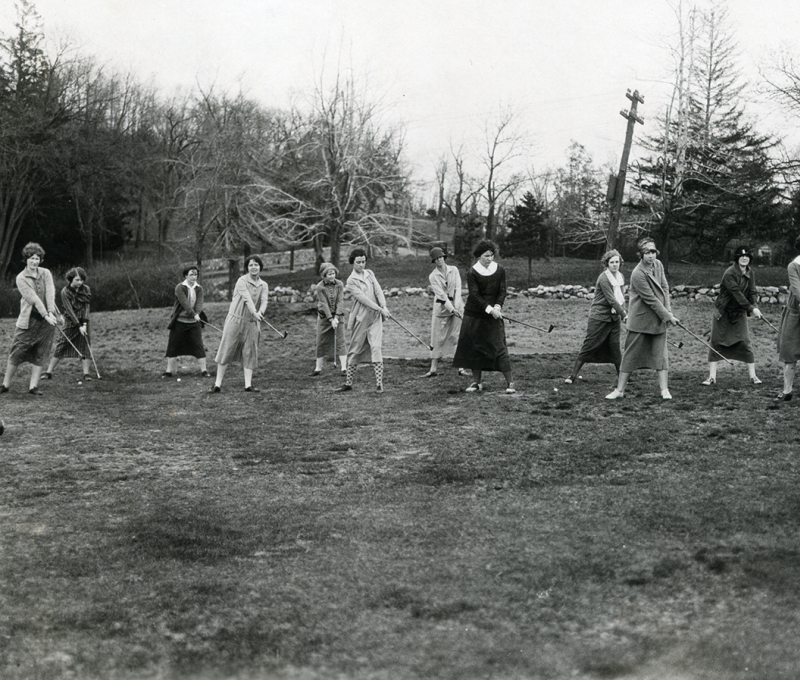 Archival photo of women playing golf at Nehoiden's present day seventh fairway.